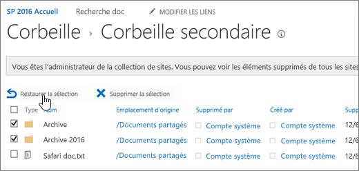 SharePoint - Corbeille second niveau avec le bouton Restaurer mis en évidence