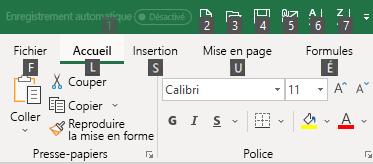 Touches d'accès du ruban pour Excel