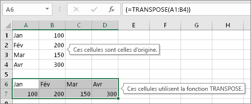 Cellules d'origine au-dessus, cellules avec la fonction TRANSPOSE en dessous