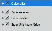 Liste des catégories de calendrier