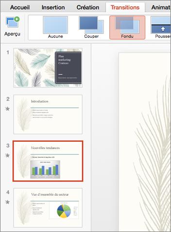 Sélectionnez la diapositive à laquelle vous souhaitez ajouter une transition dans le volet Miniatures