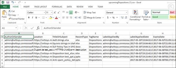Données exportées destruction dans Excel