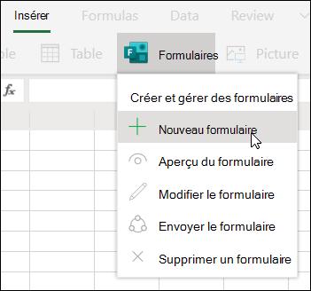 Option Insérer un nouveau formulaire dans Excel pour le Web