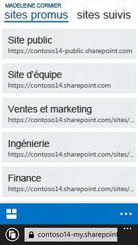 Sites promus dans SharePoint Online sur un appareil mobile