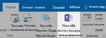 Bouton Réunion Teams dans Outlook