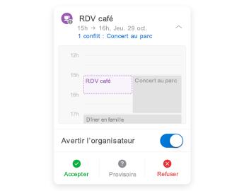 Invitation à une réunion avec mini-calendrier en haut, section des commentaires au centre et boutons de réponse en bas