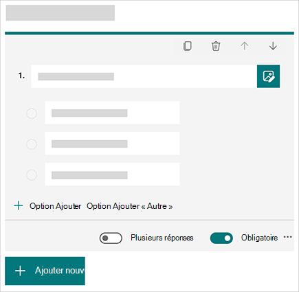 Image conceptuelle de la création d'une question dans MicrosoftForms