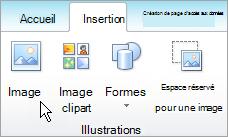 Sélection d'image sous l'onglet Insertion