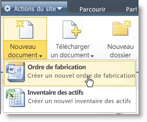 Affichage des types de contenus dans le menu Nouveau document pour une liste ou une bibliothèque.