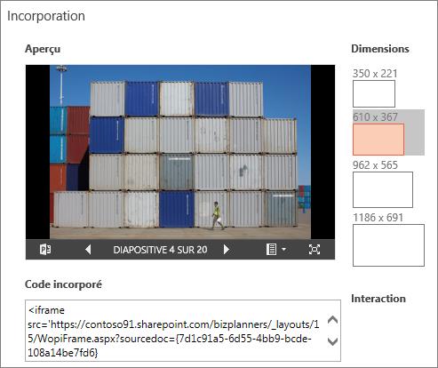 Modifier les dimensions de la présentation PowerPoint incorporée