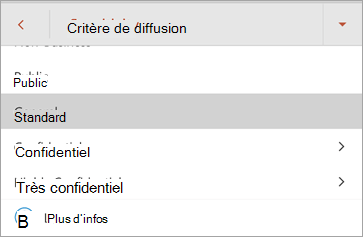 Capture d'écran d'étiquettes de sensibilité dans Office pour Android