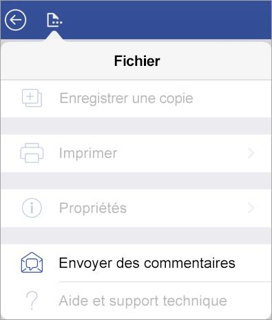 Lien Envoyer des commentaires dans Visio pour iPad