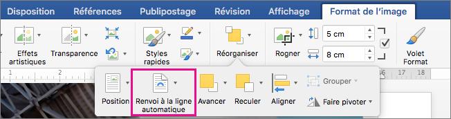Cliquez sur Habillage pour sélectionner la manière dont vous voulez disposer le texte autour d'une image ou d'un objet dessin.