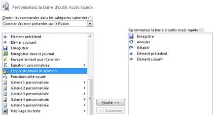 Personnaliser la barre d'outils Accès rapide avec la boîte de dialogue Autres commandes