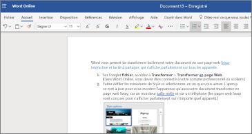 Document contenant des images dans Word Online