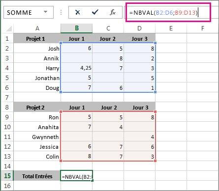 Utilisation de NBVAL pour compter 2 plages de cellules
