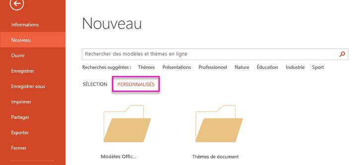 Dans la page nouveau fichier, sélectionnez personnalisé pour accéder au modèle que vous avez créé.