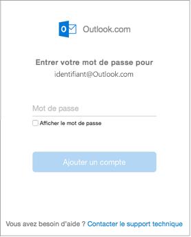 Entrez le mot de passe de votre compte outlook.com