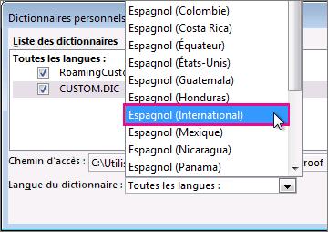 Sélection d'une langue pour un dictionnaire personnel