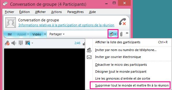 Capture d'écran du bouton Mettre fin à la réunion