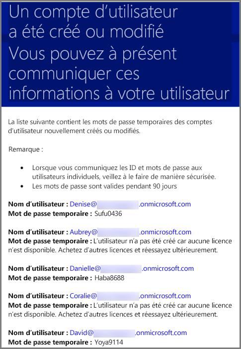 Courrier électronique d'exemple avec les informations d'identification d'un utilisateur