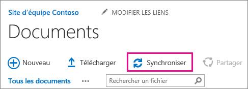 Commande de synchronisation dans une bibliothèque de documents SharePoint
