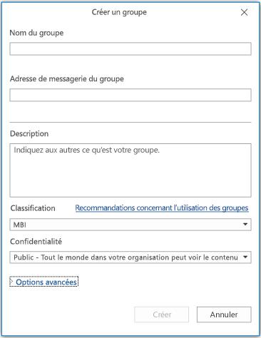 Page d'informations Nouveau groupe dans Outlook