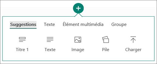 Capture d'écran de l'option Insérer du contenu.