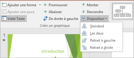 Option Disposition dans les outils SmartArt