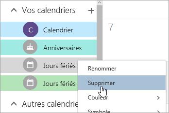 Capture d'écran de l'option Supprimer le calendrier