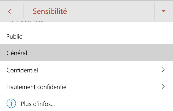 Menu de diffusion sur Android avec les étiquettes de confidentialité affichées