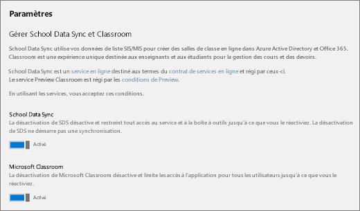Capture d'écran des paramètres de School Data Sync pour activer ou désactiver le service
