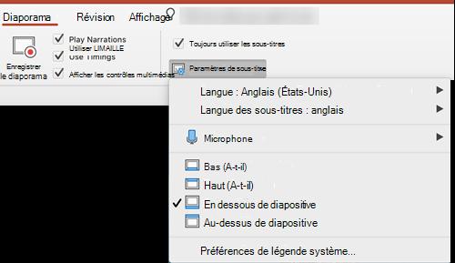 Les paramètres des légendes et des sous-titres se trouvent dans l'onglet Diaporama dans PowerPoint.