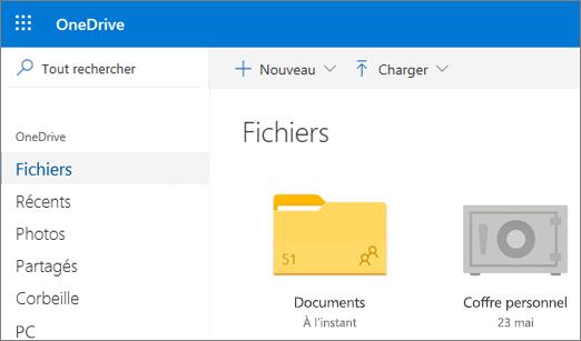 Capture d'écran du Coffre personnel qui apparaît dans la vue Fichiers dans OneDrive sur le Web