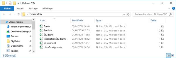 Tous les fichiers CSV doivent figurer dans le même répertoire
