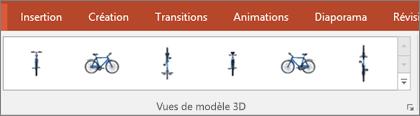 La galerie de vues des modèles3D vous offre quelques paramètres par défaut très pratiques pour agencer l'affichage de votre image3D