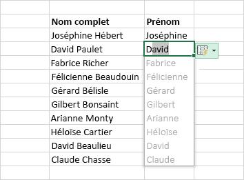Remplissage instantané d'une colonne de données