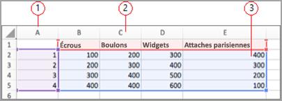 Champs de données dans Excel