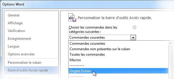 Personnaliser la barre d'outils Accès rapide en ajouter des commandes à l'onglet Fichier