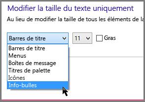 Paramètres de format des info-bulles de Windows8