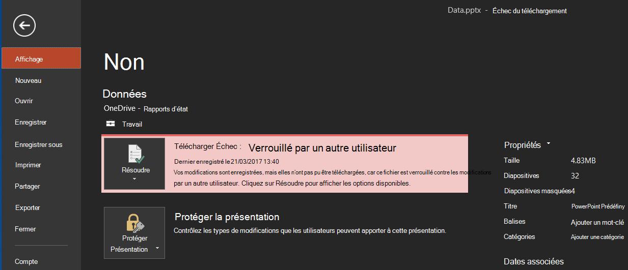 Échec du téléchargement: Verrouillé par un autre utilisateur