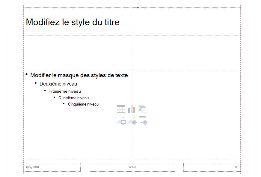 Faites glisser l'espace réservé de titre vers le haut et déposez-le à l'extérieur de la limite de la diapositive visible