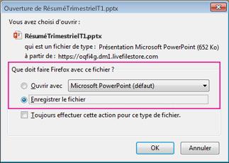 Que doit faire Firefox avec ce fichier ?