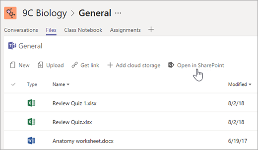 Ouvrez SharePoint à partir de l'onglet Fichiers.