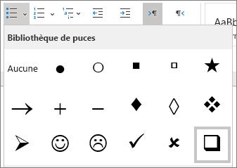 Sélectionner le symbole de case à cocher dans la bibliothèque de puces