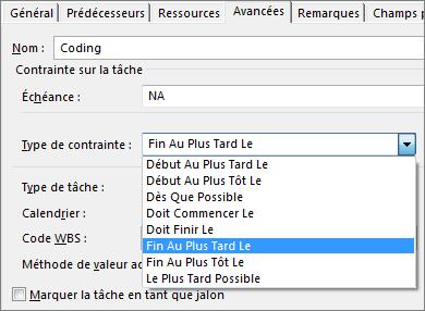 Boîte de dialogue Informations sur la tâche, menu Type de contrainte