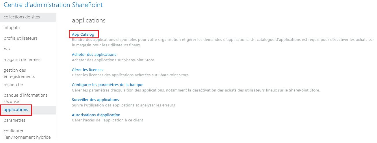Capture d'écran des catégories d'applications dans le Centre d'administration SharePoint.