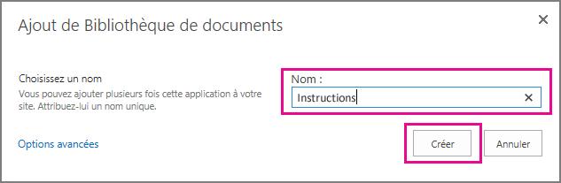 Tapez un nom pour votre bibliothèque de documents, puis sélectionnez Créer.