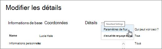 Souris survol des points de suspension dans la page de détails de modifier de modifier mon profil