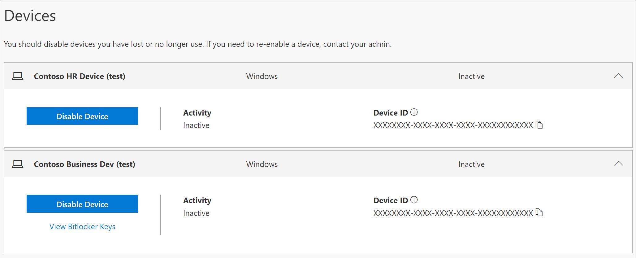 Page d'appareil avec option de touche BitLocker